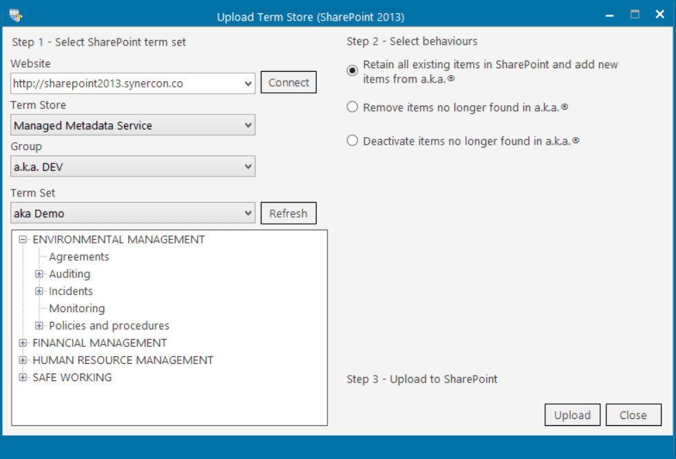 Uploading into the Term Store using a.k.a.® SharePoint Integration
