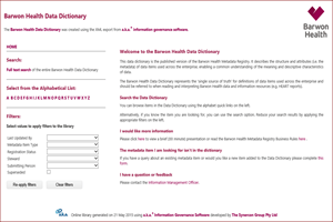 barwon health Data dictionary