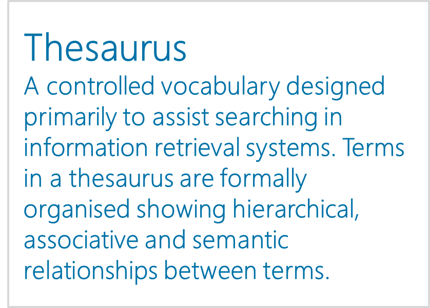 Classification Scheme / Thesaurus - Interactive Report